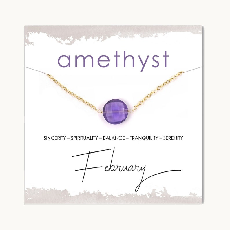 Anniversary New Mom Best Friend Gift Christmas Amethyst Coin Gemstone Necklace  February Birthstone Jewelry for Her  Birthday