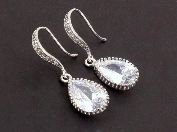 Cubic Zirconia Fake Diamond Teardrop Bridal Earrings Simple Etsy