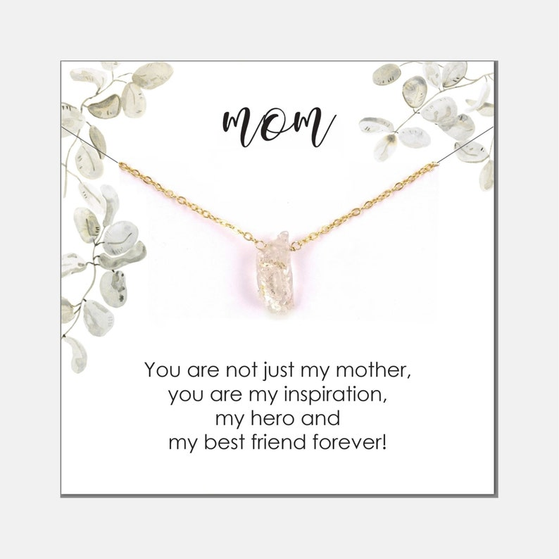 Inspirational Mom Gift from Daughter Jewelry  Gift for Mother  Necklace Gemstone  Raw Herkimer Diamond Necklace  for Mom Birthday Gift