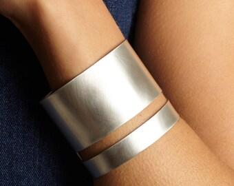 Modern Sterling Silver Cuff Bracelet, Linear Cuff, Minimal Cuff Bracelet, Contemporary Bracelet, *Free Shipping*