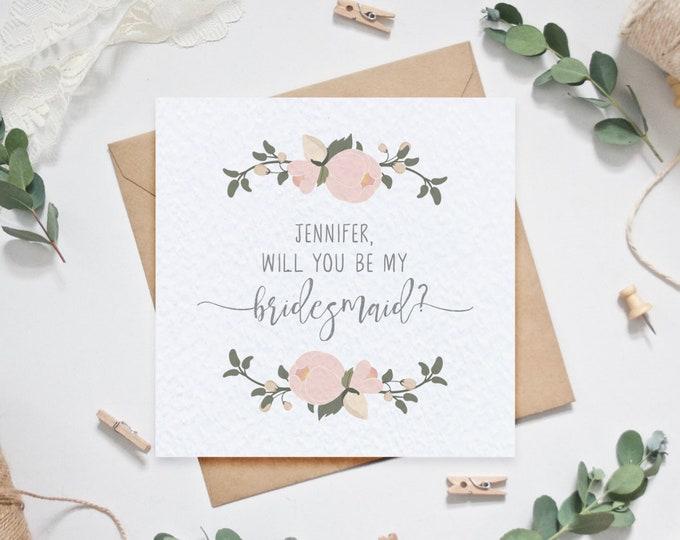 Personalised Bridesmaid Card - Will you be my bridesmaid? - Blush Floral