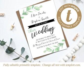 Editable Eucalyptus Printable Wedding Invitation Template