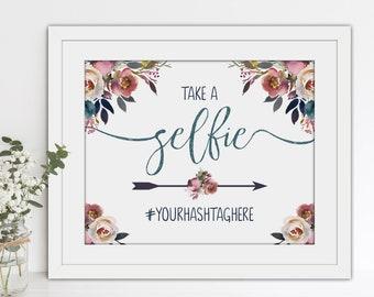 PRINTABLE Wedding Selfie Hashtag Sign - Layla Collection