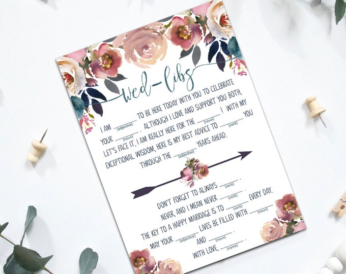 INSTANT DOWNLOAD - Printable Wed-Libs Wedding Blanks Game - Layla Collection