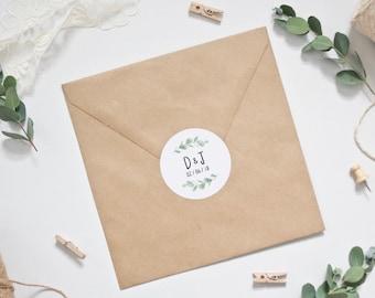 Wedding Stickers - Personalised Eucalyptus Wedding Envelope Stickers