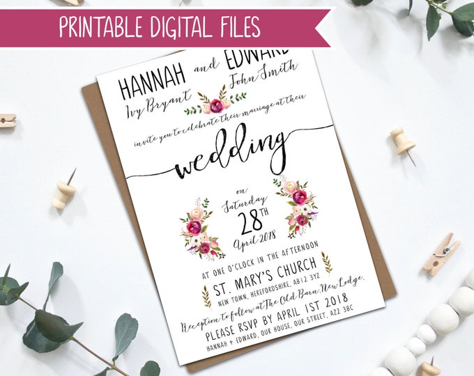 PRINTABLE Personalised Wedding Invitation - Pink Watercolour Florals - Penny Collection