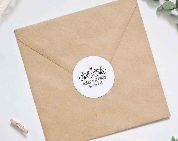 Wedding Stickers - Personalised Road Bikes Bicycle Wedding Envelope Stickers - Envelope Seals with Names & Date - Custom Stickers - Favor