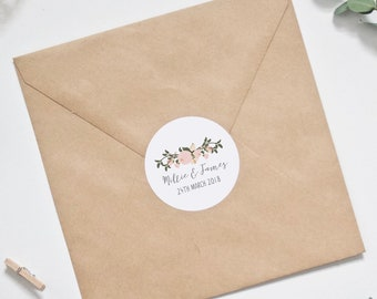 CUSTOM Wedding Stickers - Personalised Pink Floral & Foliage Design