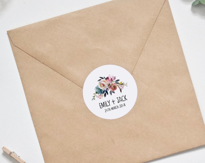 CUSTOM Wedding Stickers - Personalised Dusky Pink and Blue Floral Design