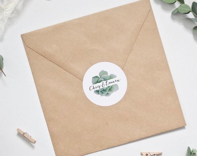 Wedding Stickers - Personalised Succulent Wedding Envelope Stickers