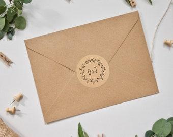 Personalised Wedding Stickers - Foliage Wreath on Kraft Background