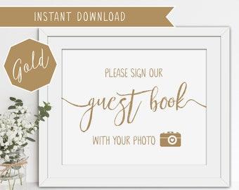 Printable Wedding Guest Book Sign - Matte Gold - 8x10