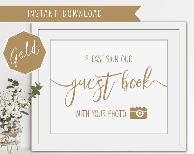 Printable Wedding Guest Book Sign - Matte Gold - 8x10