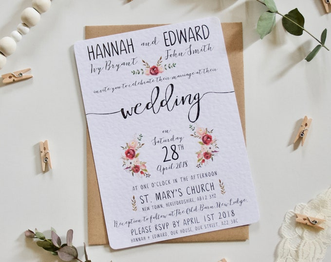 PRINTED - Penny Collection - Pink Floral Peony Wedding Invitations