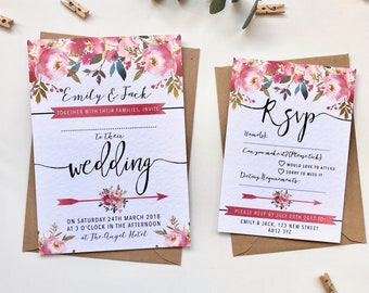 Pink Watercolour Floral Wedding Invitation Suite - Wedding Stationery - Physical Prints - Country Woodland Spring Summer - Ella collection