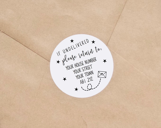 'If undelivered please return to' Stickers - Personalised Shop or Wedding Envelope Stickers