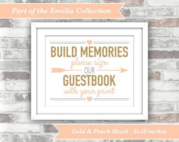 INSTANT DOWNLOAD - Emilia Collection - Printable Fingerprint Wedding Guestbook Sign - Digital Files - 8x10 - Gold Glitter Effect Peach Blush