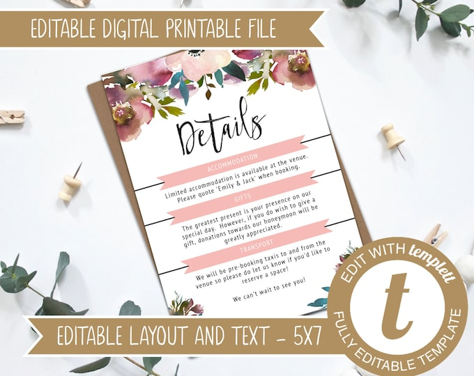 INSTANT DOWNLOAD - Editable Blush and Rose Pink Printable Wedding Invitation Details Card Template