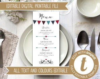 INSTANT DOWNLOAD - Editable Printable Wedding Menu Template with Road Bikes and Bunting Design - Burgundy Blue Wedding Digital File Templett