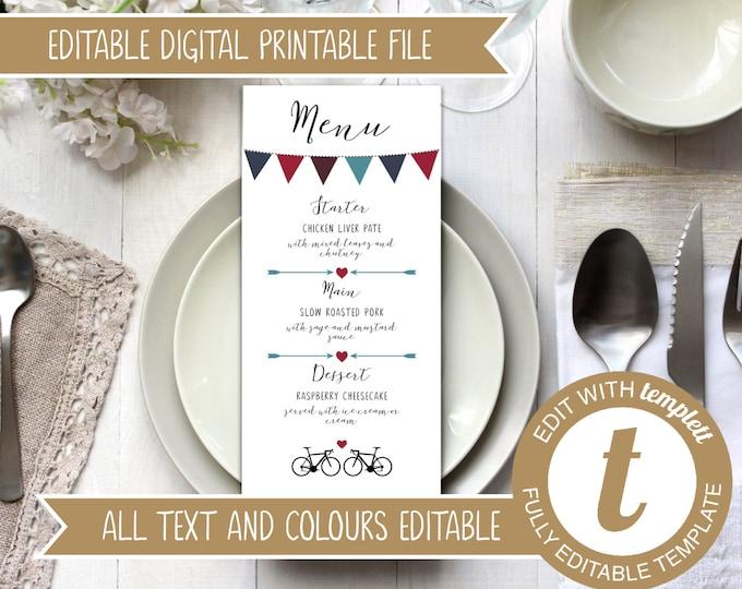 INSTANT DOWNLOAD - Editable Printable Wedding Menu Template with Road Bikes and Bunting Design - Burgundy Blue Wedding Digital File Templett