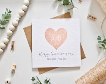 PRINTED Personalised Wedding Anniversary Card - Heart with Initials - 'Happy Anniversary to a Lovely Couple' - Matte Rose Gold Paint Effect