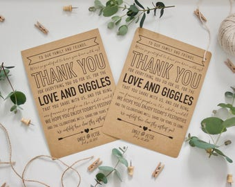 PRINTED Personalised Rustic Wedding Thank You Sign Print Place Setting - Recycled Brown Kraft Card - Country Vintage Woodland Wedding Decor