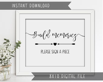 Wedding Guest Book Sign - Build Memories - Please Sign a Piece - Puzzle/Blocks Guest Book