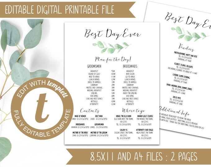 INSTANT DOWNLOAD - Eucalyptus Leaf Design Editable Printable Wedding Timeline Template