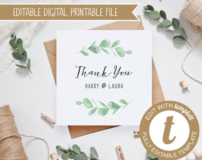 EDITABLE Printable Eucalyptus Wedding Thank You Card - Templett Template