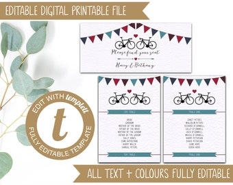 INSTANT DOWNLOAD - Editable Wedding Table Plan Template - Road Bikes
