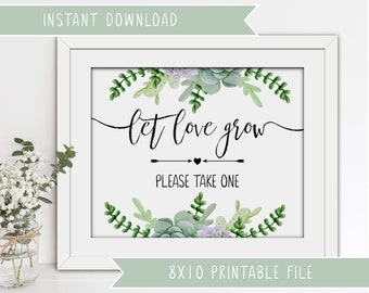 Printable Wedding Succulents Sign - Let love grow