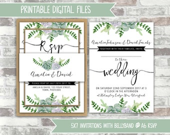 PRINTABLE Digital File - Printable Wedding Invitation Bundle - Green Succulents Black Calligraphy Style - 5x7 invites and A6 RSVPs - Foliage