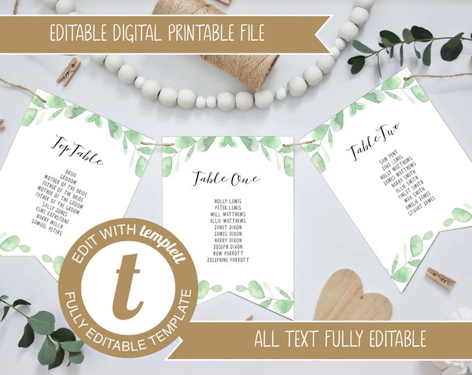 Editable Eucalyptus Wedding Table Plan Bunting Template - Version 1
