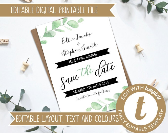 INSTANT DOWNLOAD - Editable Eucalyptus Save the Date Template