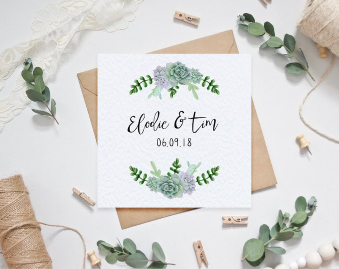 Personalised Wedding Card with Couple's Names and Date of Wedding - Succulents Botanical - Personalized Wedding Card / Anniversary Card