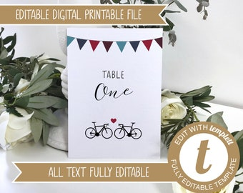 Editable Road Bikes Printable Wedding Table Number / Names Cards - Edit online at Templett