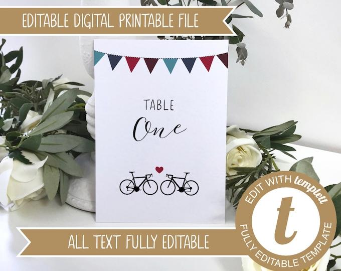Editable Road Bikes Printable Wedding Table Number / Names Cards - Edit online at Templett