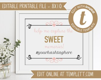 INSTANT DOWNLOAD - Editable Printable Sweet 16 Hashtag Sign Template for Templett