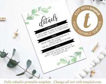 Editable Eucalyptus Printable Wedding Invitation Details Card Template