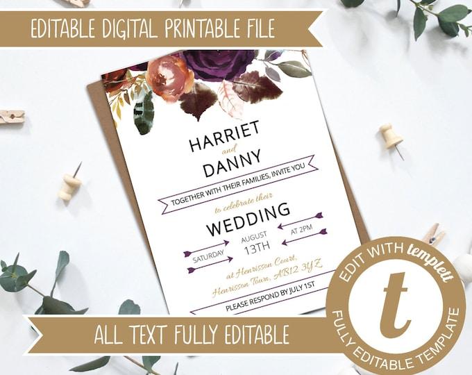 INSTANT DOWNLOAD - Editable Fall Florals Watercolour Wedding Invitation Template - Templett