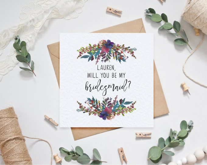 Personalised Will you be my bridesmaid? Card - Wild Flowers