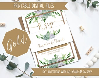 Printable Wedding Invitation Bundle - Gold and Green Succulents