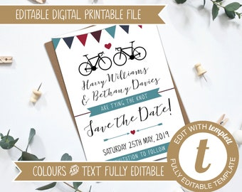 Fully Editable Printable Wedding Road Bikes Save the Date Invitation