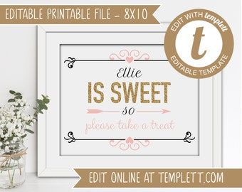 INSTANT DOWNLOAD - Personalized Printable Sweet 16 Candy Bar Sign Template