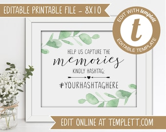 Editable Eucalyptus Printable Wedding Hashtag Sign