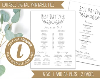 INSTANT DOWNLOAD - Editable Printable Wedding Timeline - Wedding Itinerary for Bridal Party - Templett - Best Day Ever Order of the Day