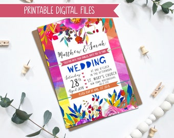 PRINTABLE Wedding Invitation - Bright Bold Wedding Stationery