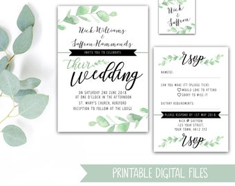 PRINTABLE Eucalyptus Wedding Stationery Bundle