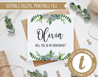 EDITABLE Succulents Printable Will you be my bridesmaid/maid of honour/flower girl Card - DIY Templett Template