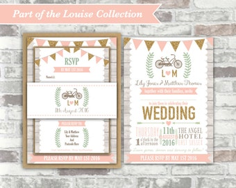 PRINTABLE Digital Files - Louise Collection - Personalised Wedding Invitation Bundle Print Your Own DIY Rustic Wood Blush Gold Bicycle Bike